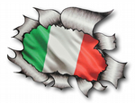Ripped Torn Metal Design With Italy Italian il Tricolore Flag Motif External Vinyl Car Sticker 105x130mm